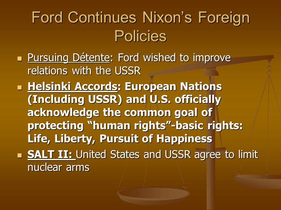 Ford Continues Nixon's Foreign Policies