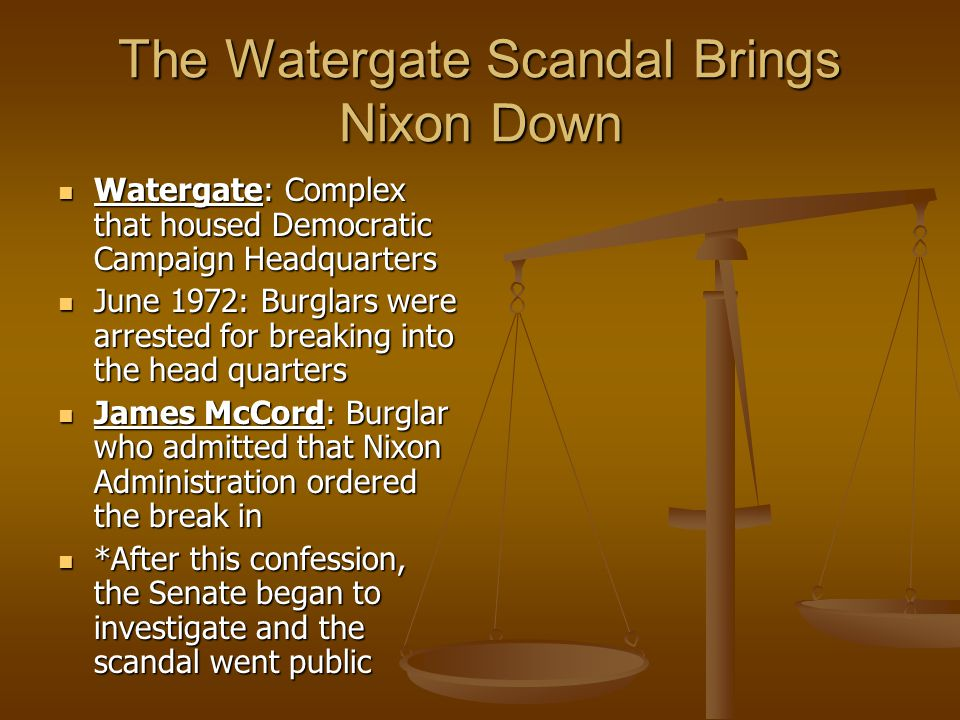 The Watergate Scandal Brings Nixon Down