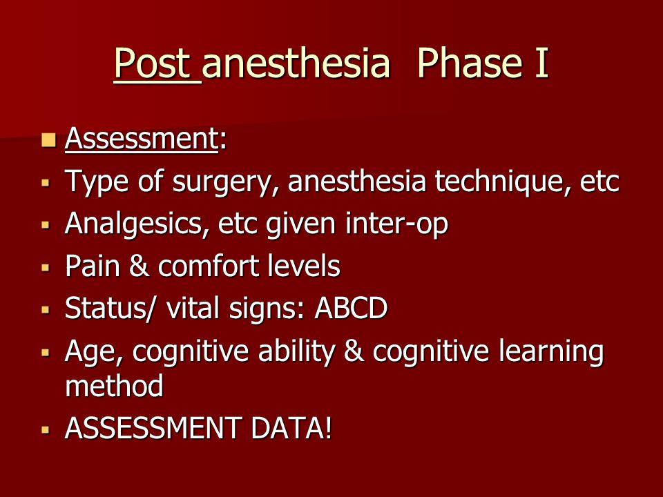 Post anesthesia Phase I