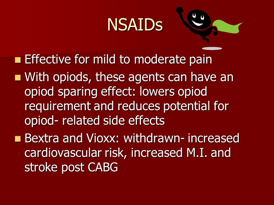 NSAIDs Effective for mild to moderate pain