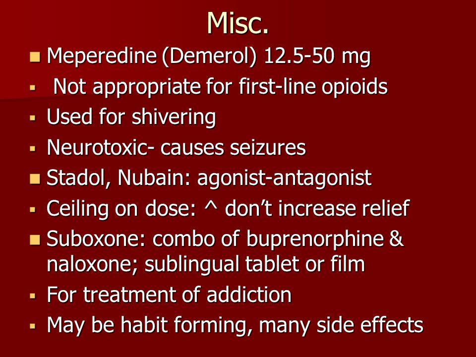 Misc. Meperedine (Demerol) 12.5-50 mg