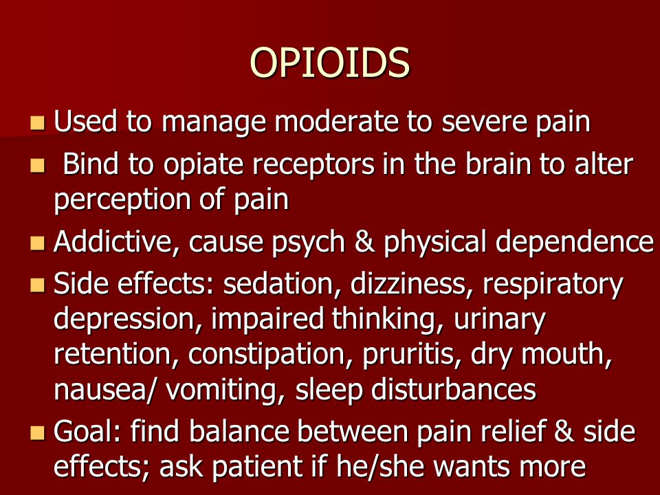 OPIOIDS Used to manage moderate to severe pain