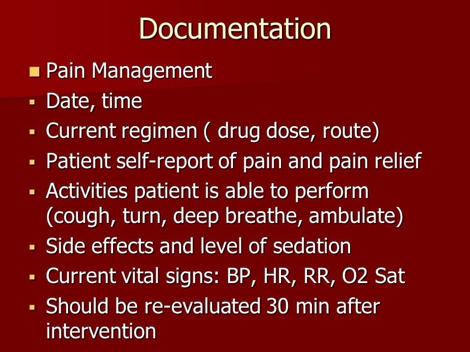 Documentation Pain Management Date, time