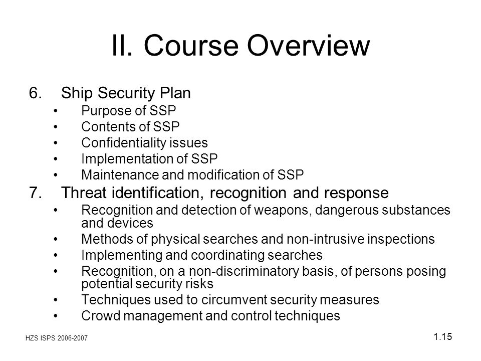 II. Course Overview Ship Security Plan