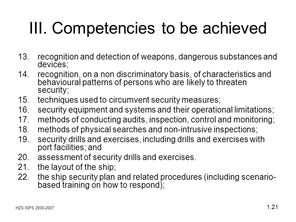 III. Competencies to be achieved