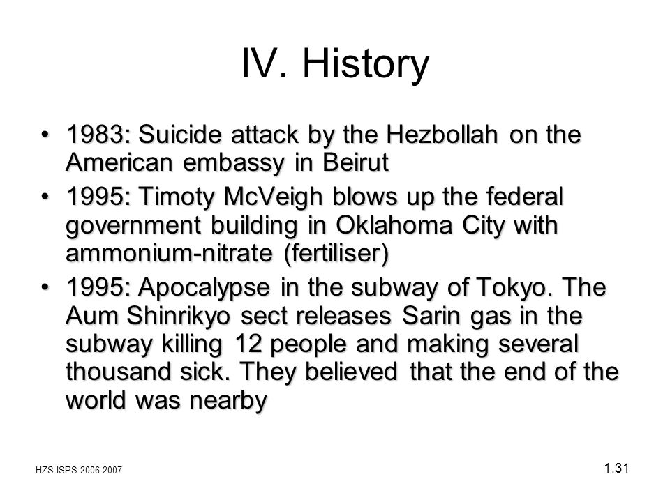 IV. History 1983: Suicide attack by the Hezbollah on the American embassy in Beirut.