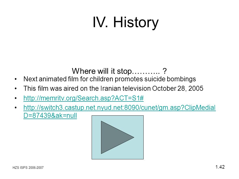 IV. History Where will it stop………..
