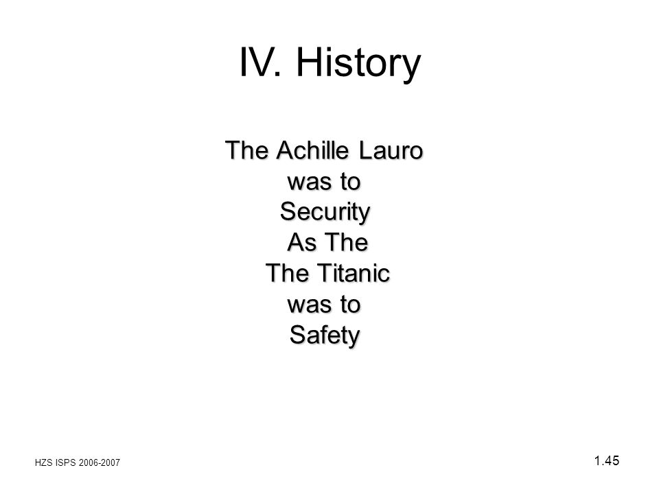 The Achille Lauro was to Security As The The Titanic was to Safety