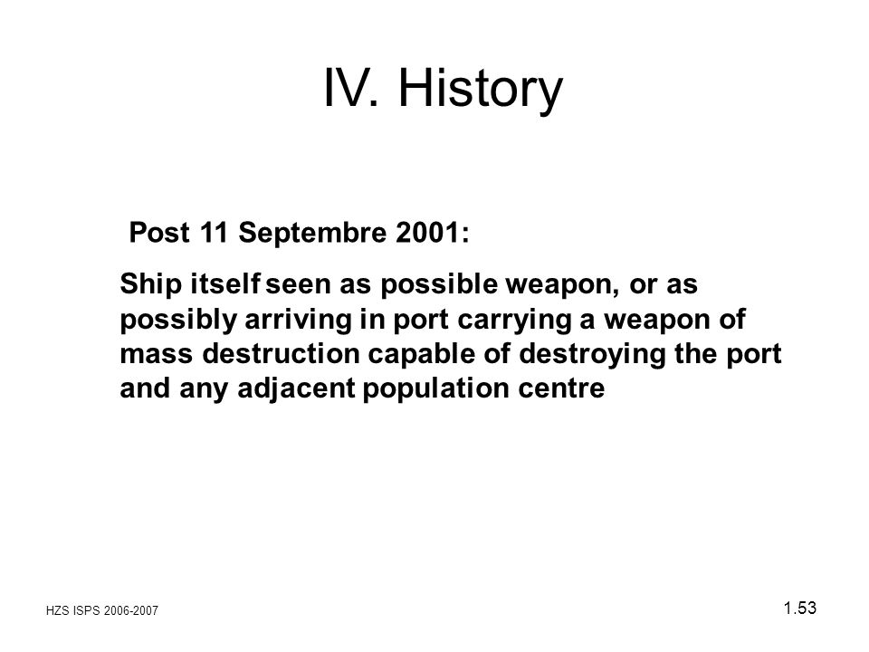 IV. History Post 11 Septembre 2001: