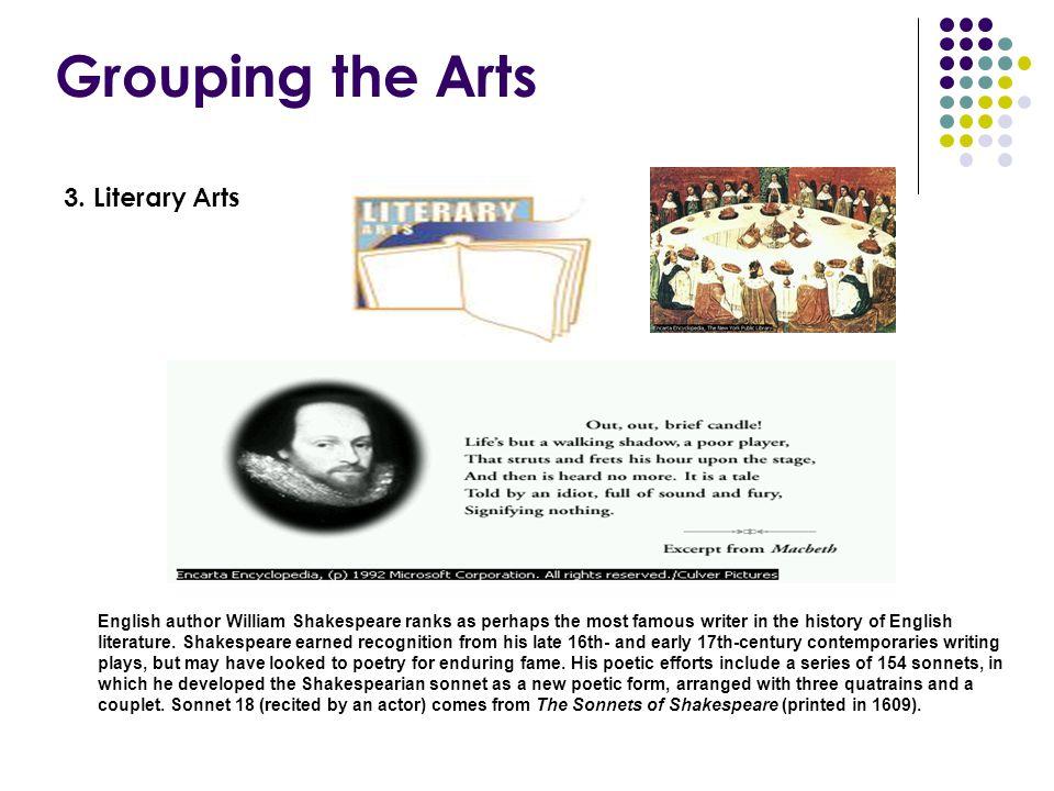 Grouping the Arts 3. Literary Arts