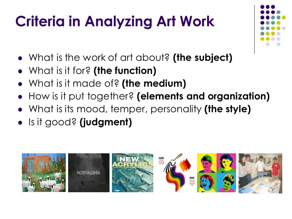Criteria in Analyzing Art Work