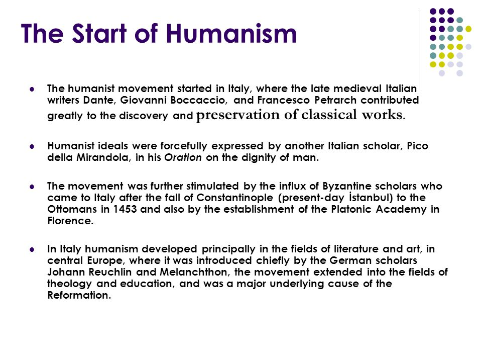 The Start of Humanism