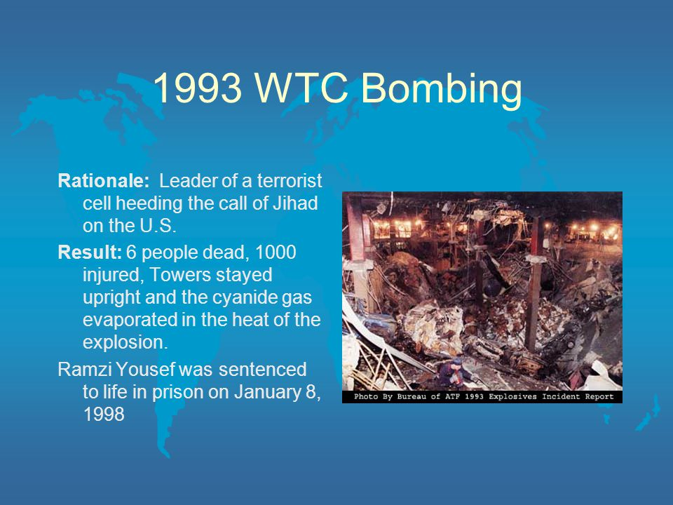 1993 WTC Bombing Rationale: Leader of a terrorist cell heeding the call of Jihad on the U.S.