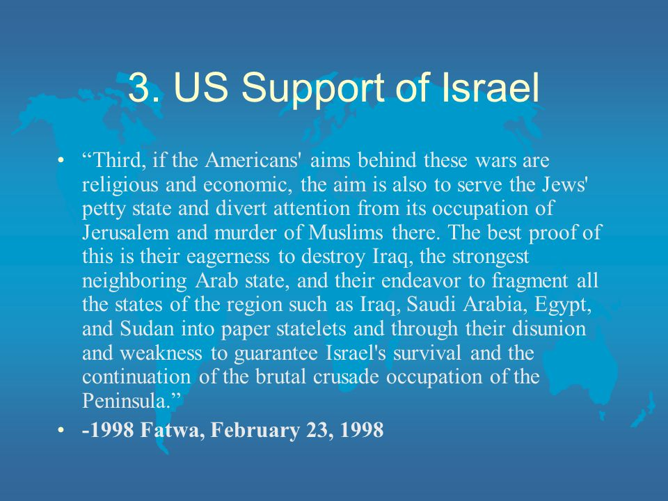3. US Support of Israel