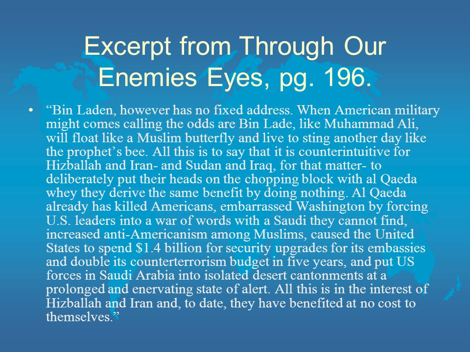 Excerpt from Through Our Enemies Eyes, pg. 196.