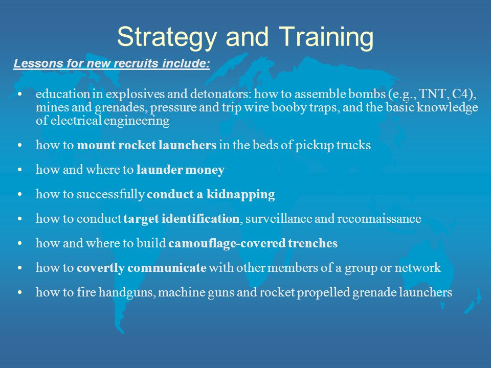 Strategy and Training Lessons for new recruits include:
