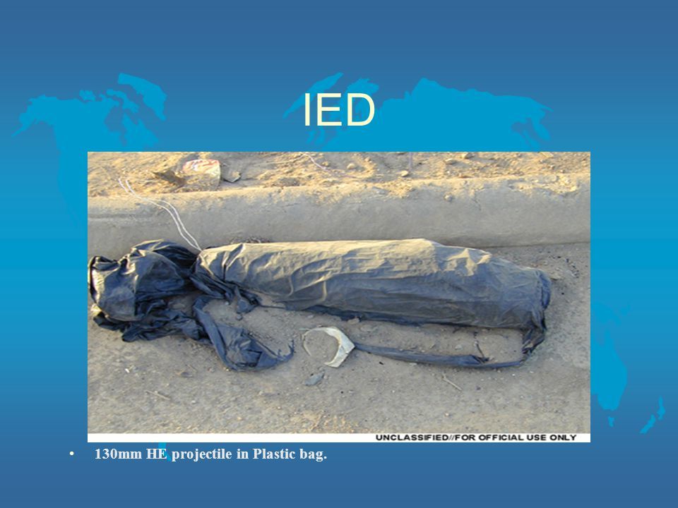 IED 130mm HE projectile in Plastic bag.