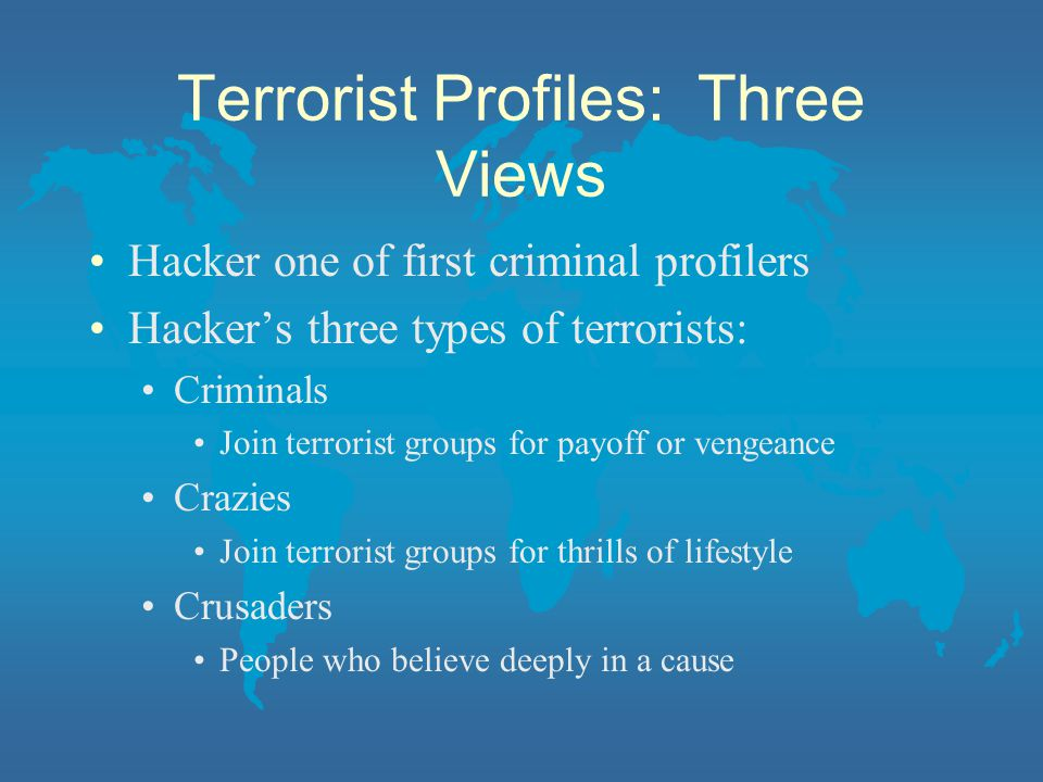 Terrorist Profiles: Three Views