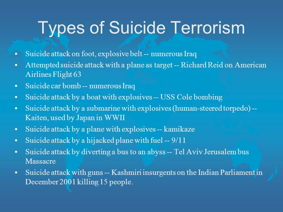 Types of Suicide Terrorism