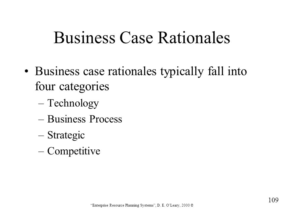 Business Case Rationales