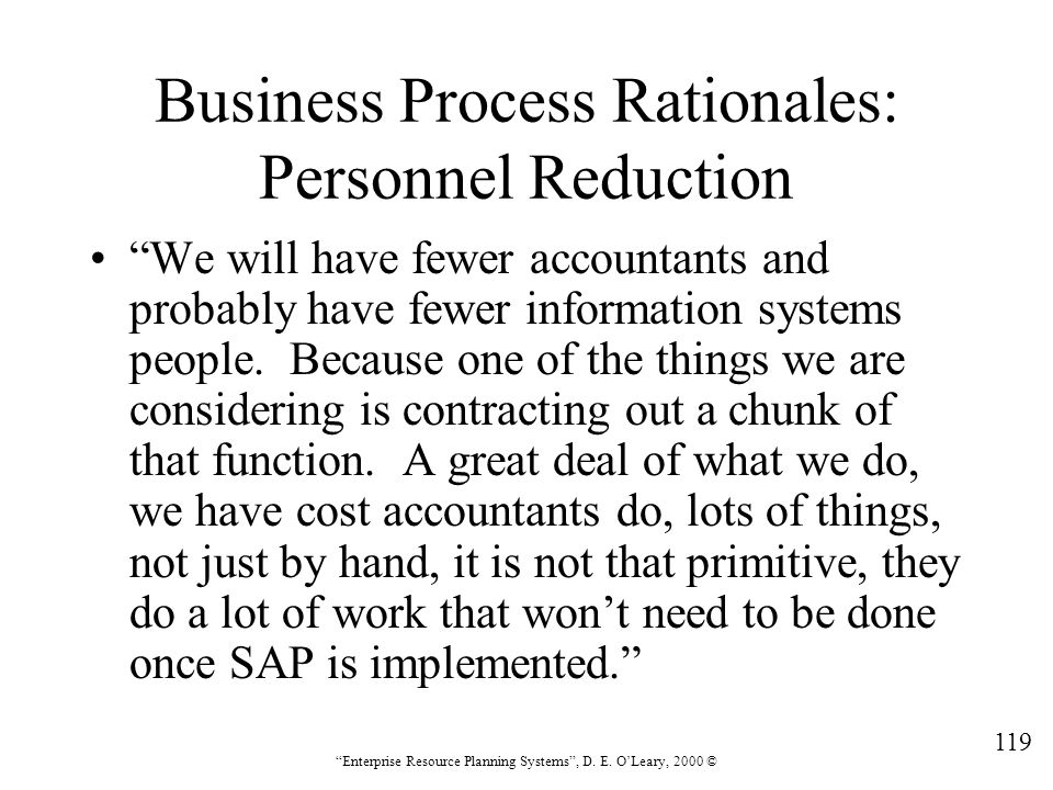 Business Process Rationales: Personnel Reduction