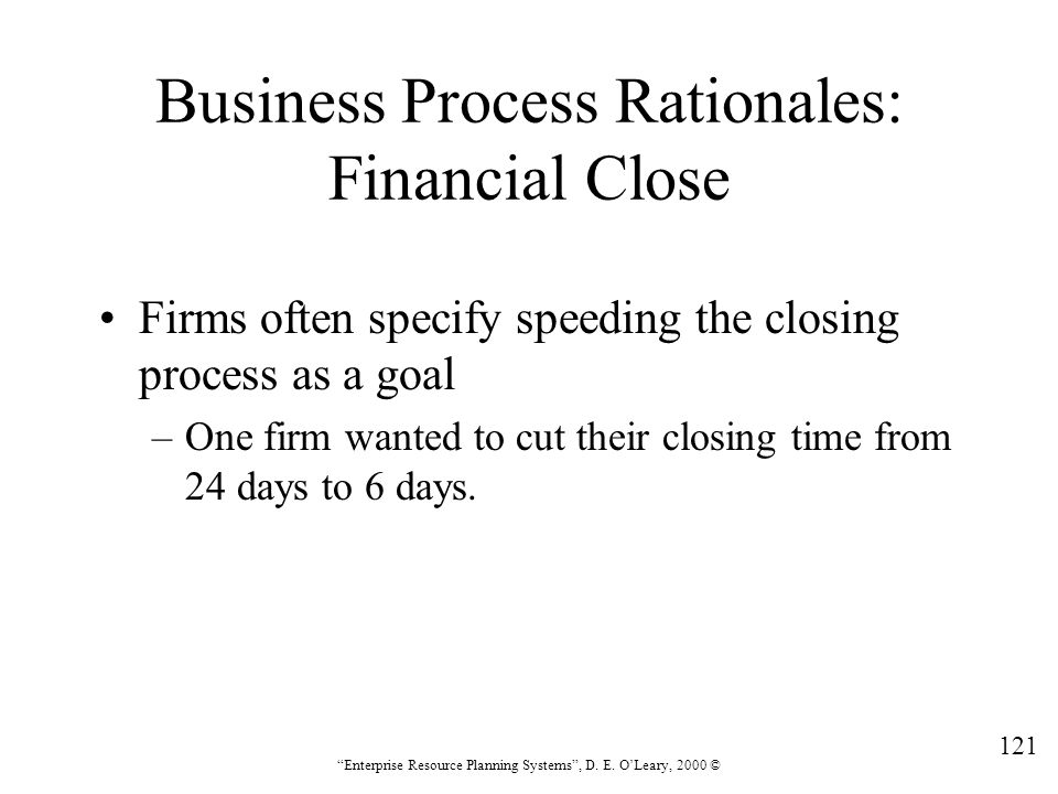 Business Process Rationales: Financial Close