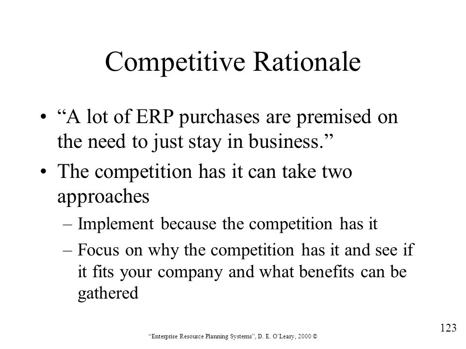 Competitive Rationale