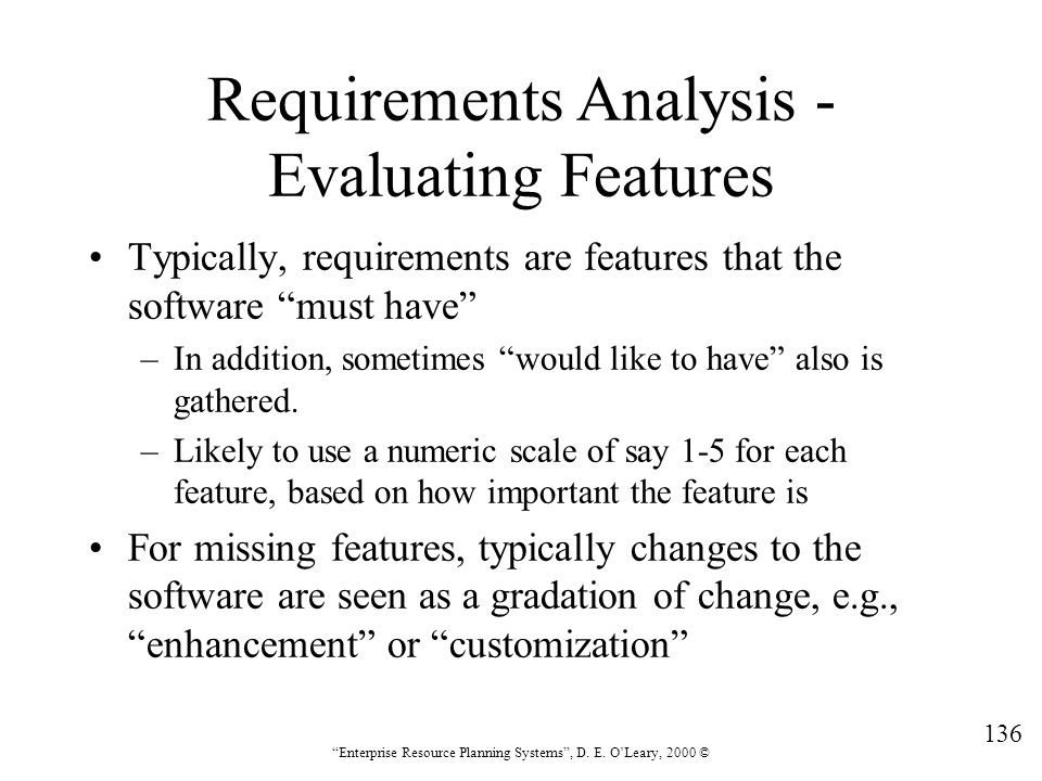 Requirements Analysis - Evaluating Features