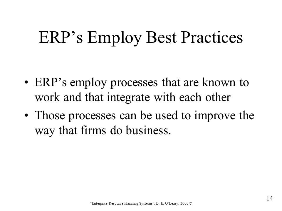 ERP's Employ Best Practices