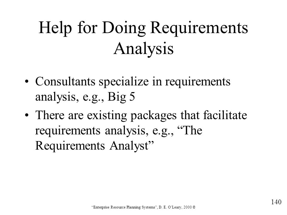 Help for Doing Requirements Analysis