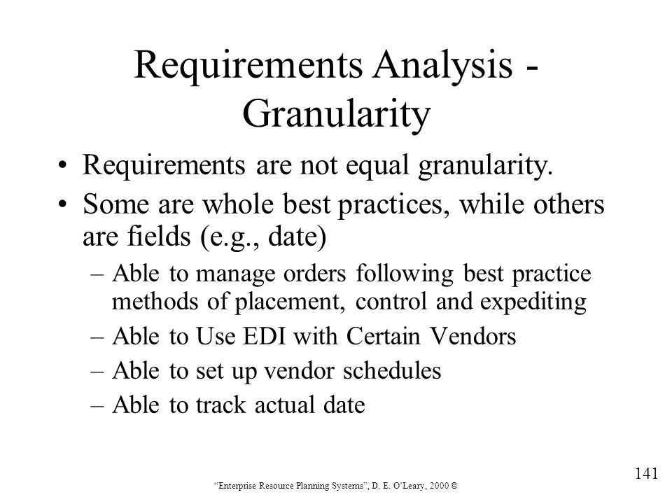 Requirements Analysis - Granularity