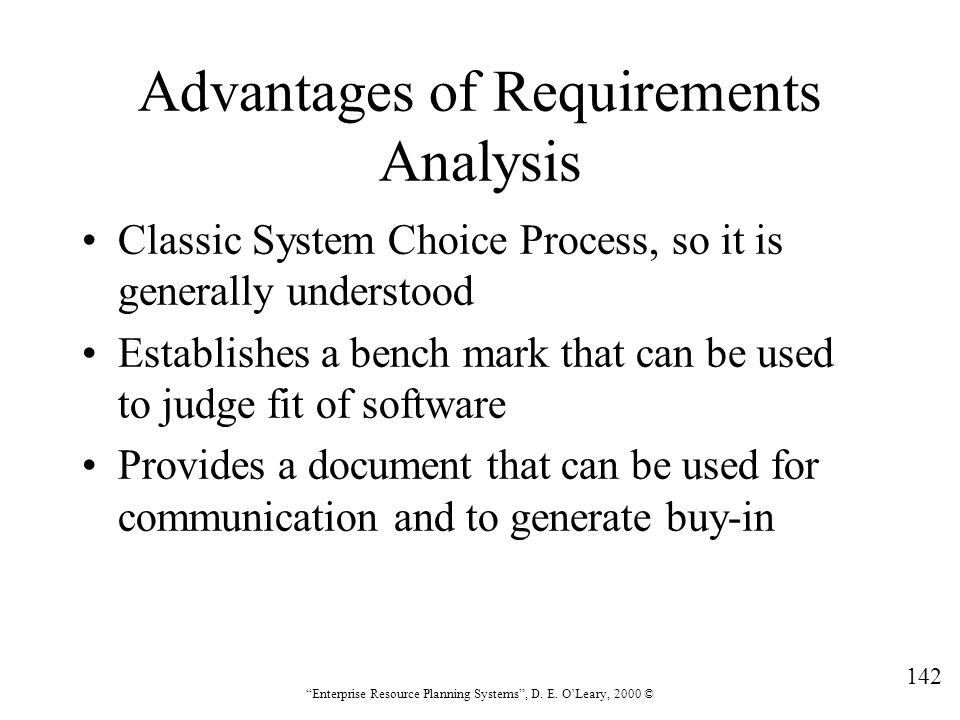 Advantages of Requirements Analysis