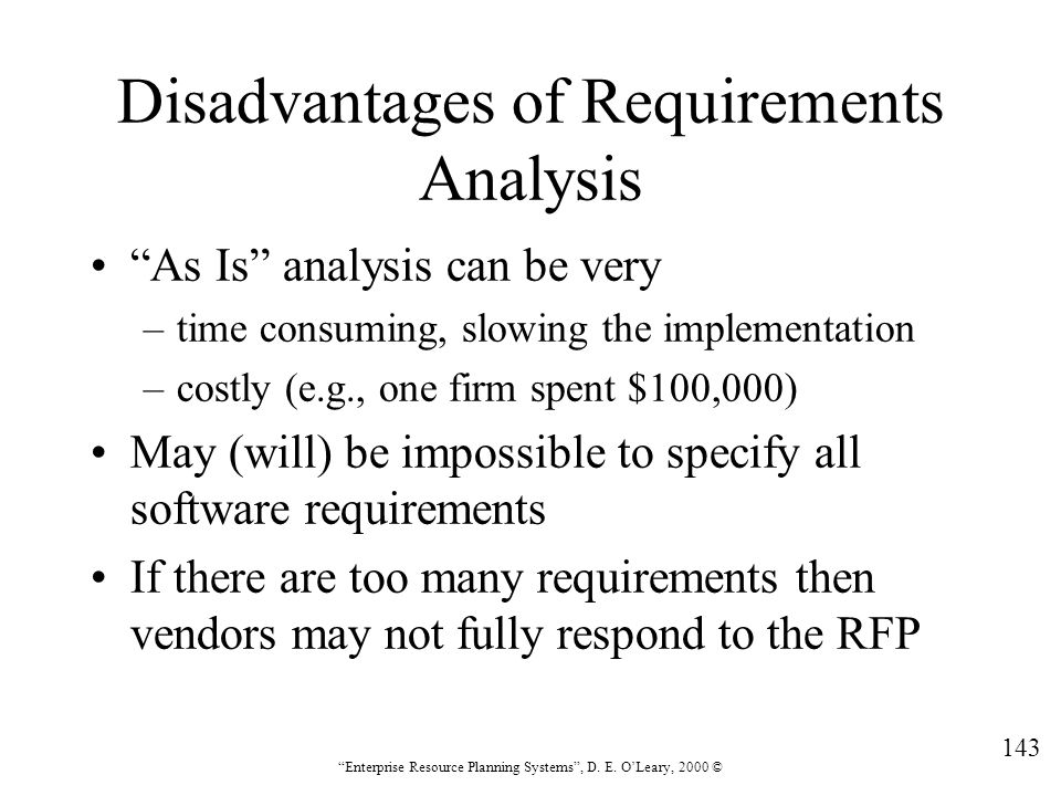Disadvantages of Requirements Analysis