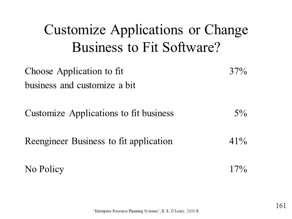 Customize Applications or Change Business to Fit Software