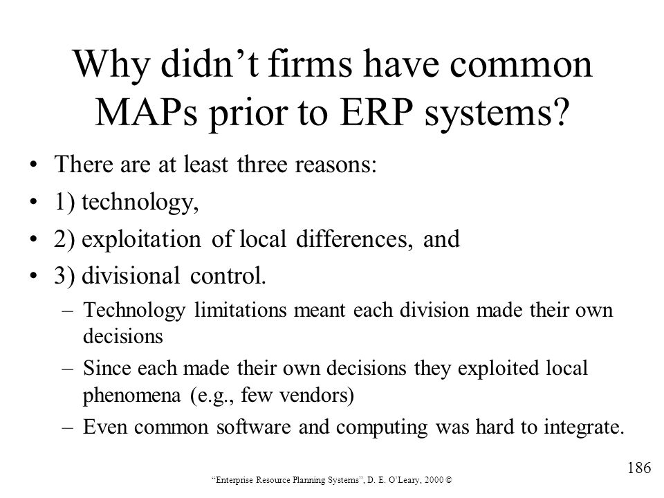 Why didn't firms have common MAPs prior to ERP systems