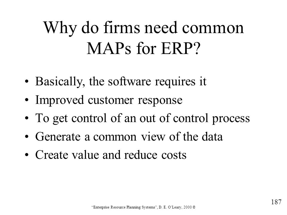 Why do firms need common MAPs for ERP