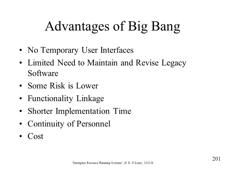 Advantages of Big Bang No Temporary User Interfaces