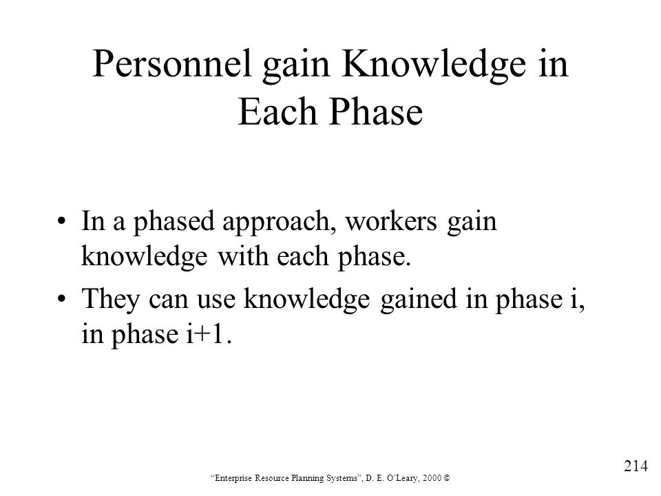 Personnel gain Knowledge in Each Phase