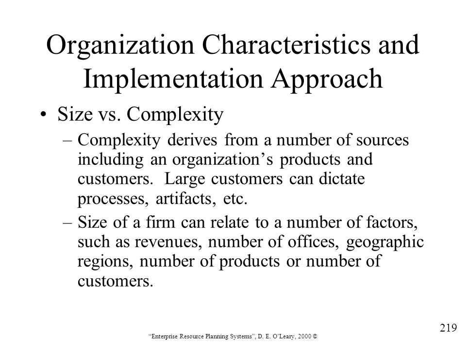 Organization Characteristics and Implementation Approach