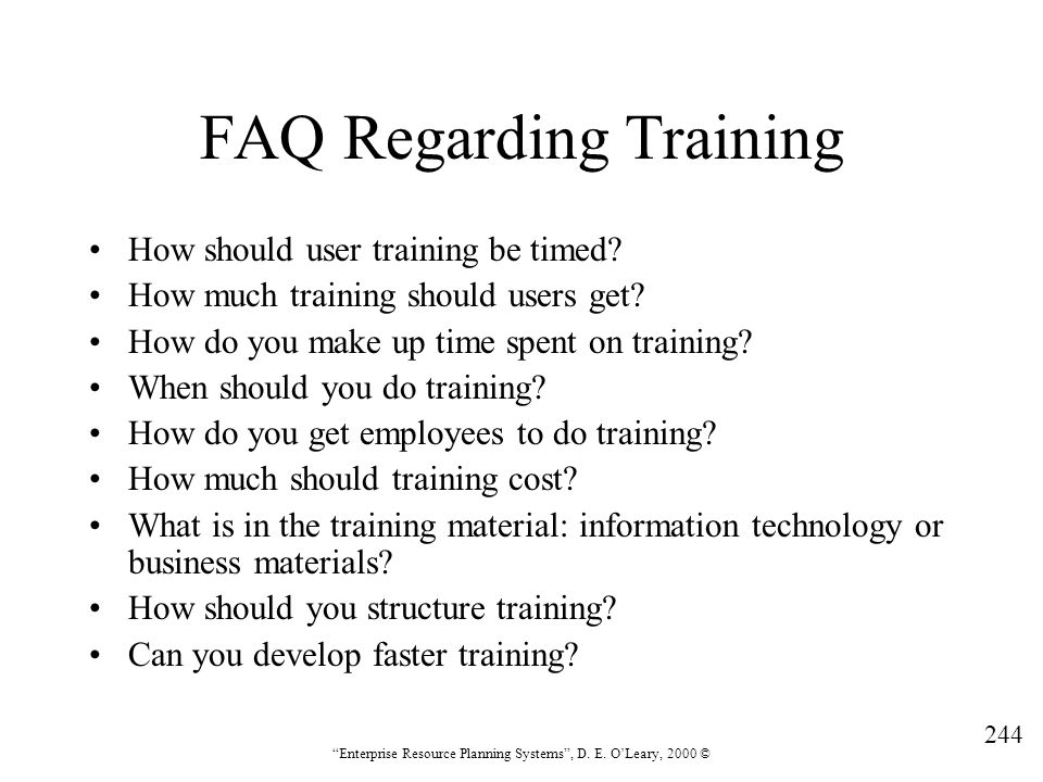 FAQ Regarding Training