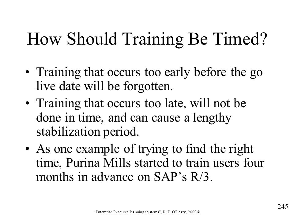 How Should Training Be Timed