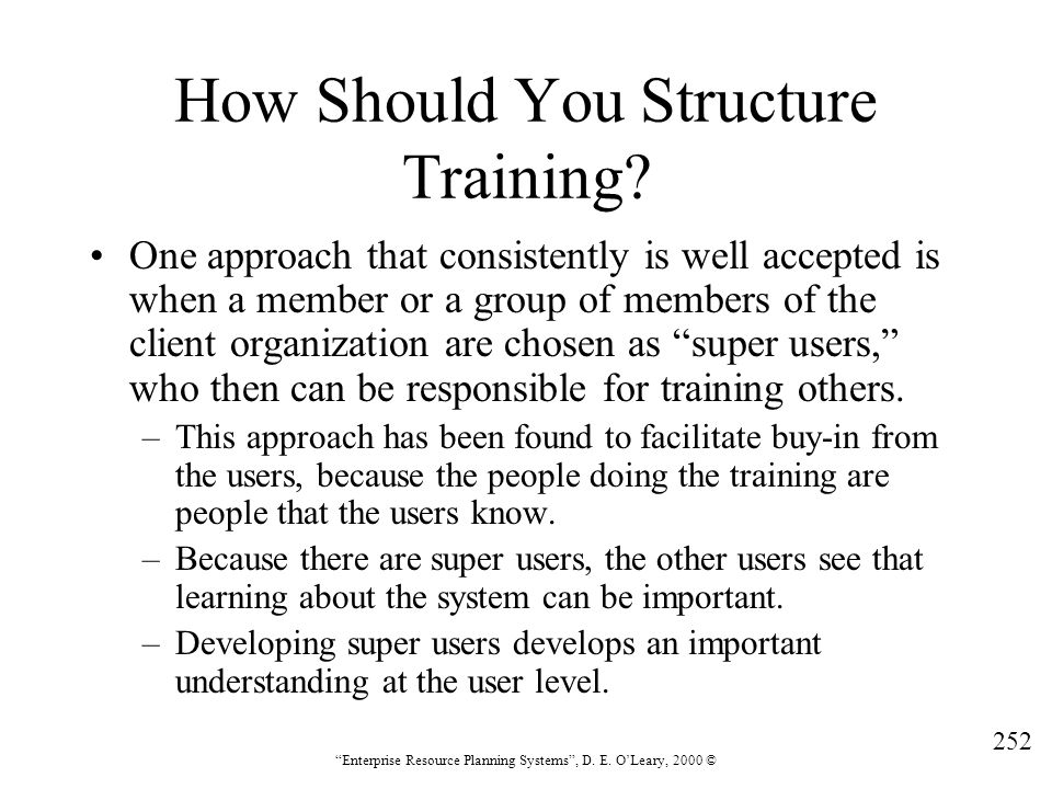 How Should You Structure Training