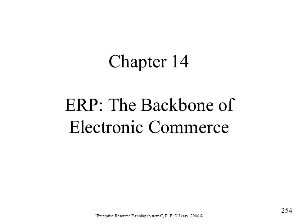 Chapter 14 ERP: The Backbone of Electronic Commerce