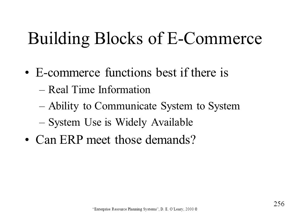 Building Blocks of E-Commerce
