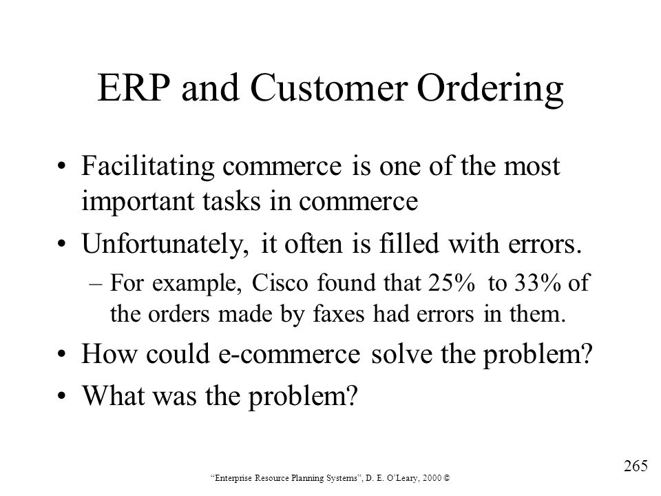 ERP and Customer Ordering