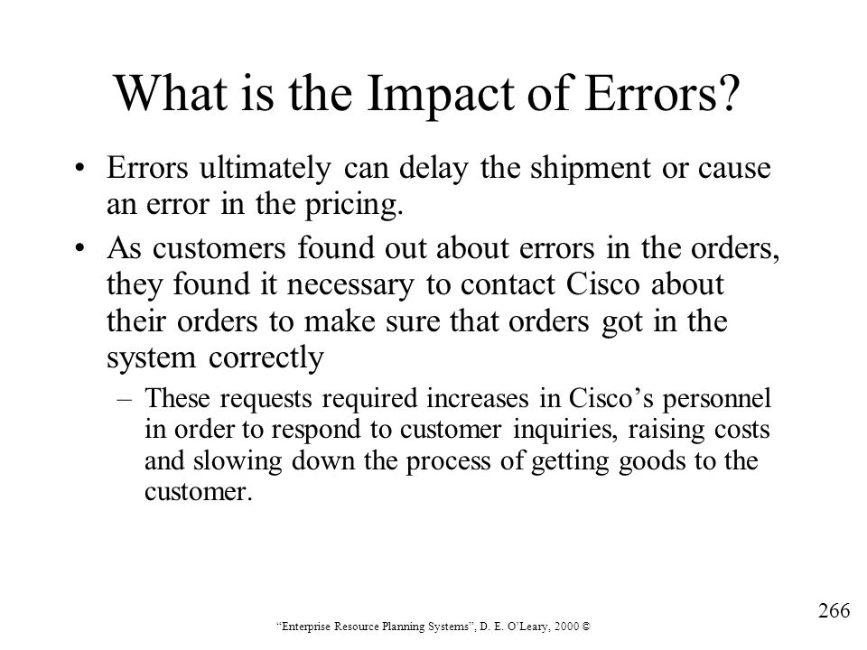What is the Impact of Errors