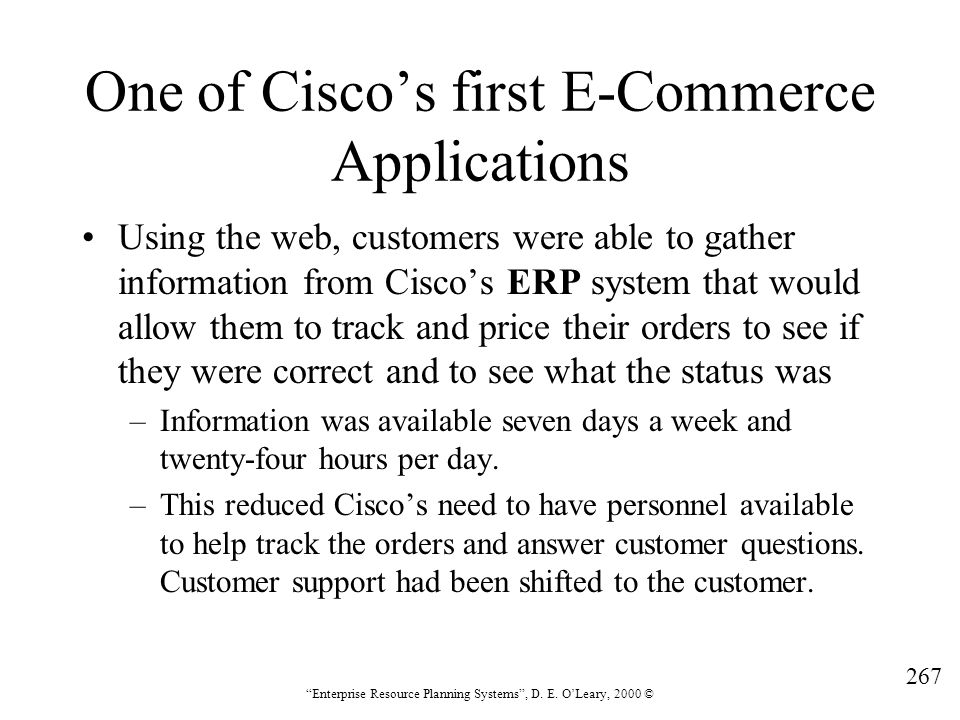 One of Cisco's first E-Commerce Applications
