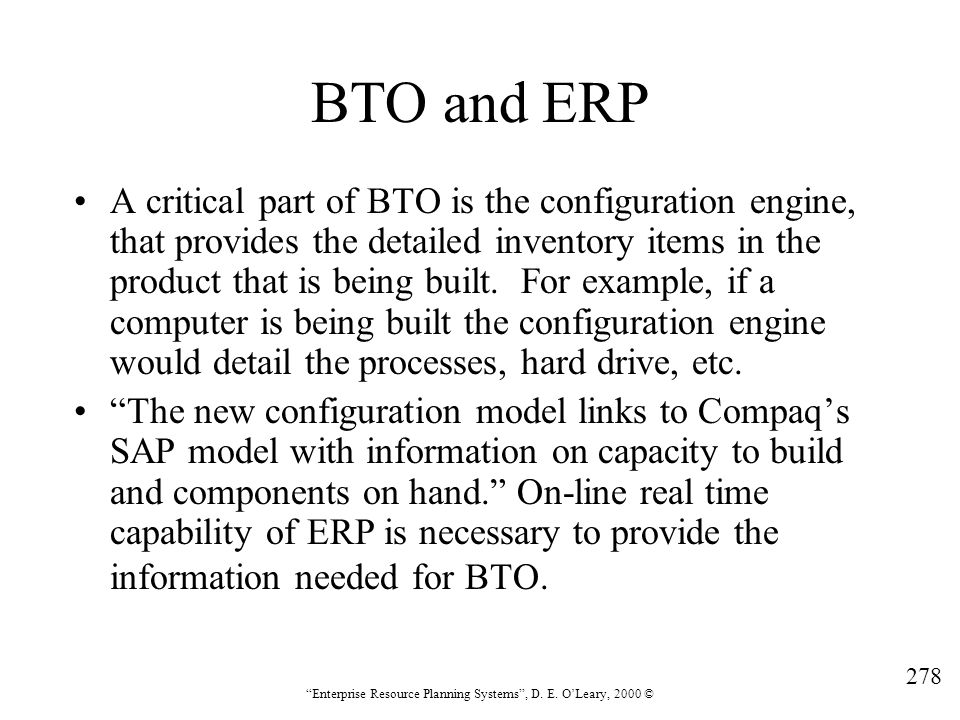 BTO and ERP