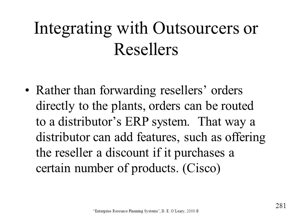 Integrating with Outsourcers or Resellers