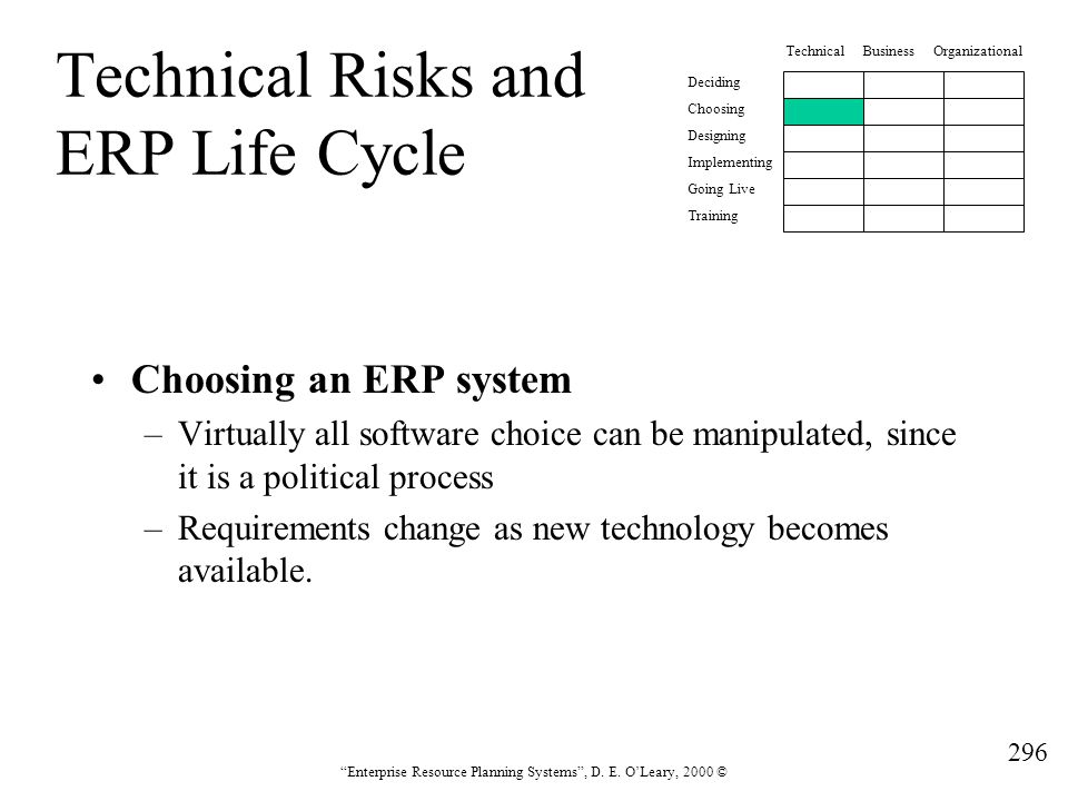 Technical Risks and ERP Life Cycle